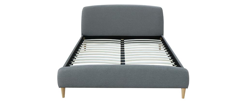 Design-Bett Stoff Grau und Holz 160 x 200 cm NIELS