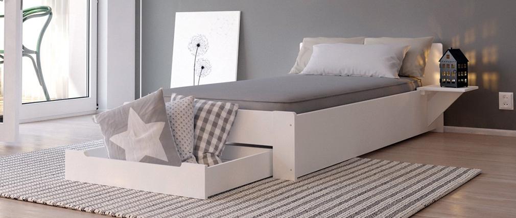 Design-Bett Weiß 1 Person 90 x 190 LORIS