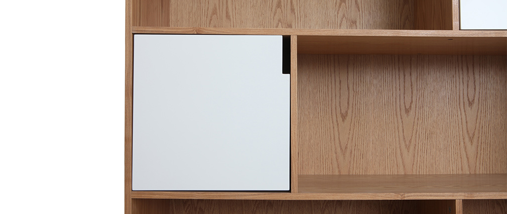 Design-Bücherregal mit weißen Türen Eiche INGRID