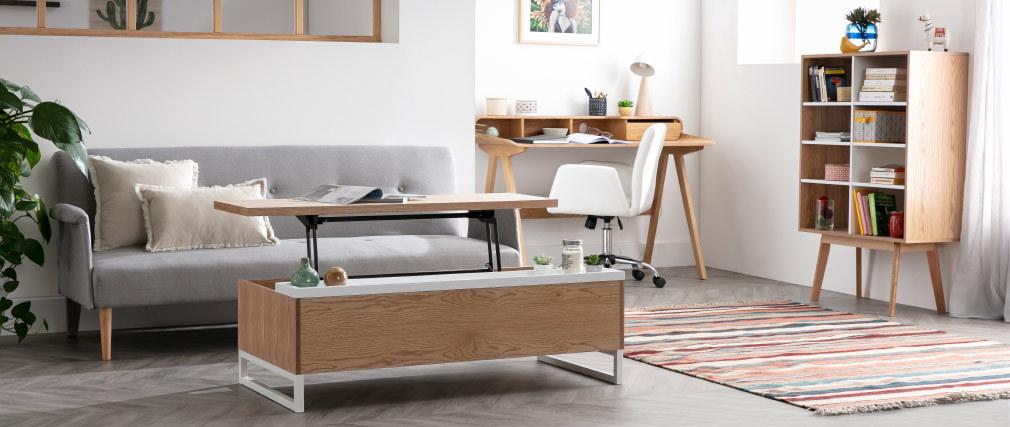 Design-Bücherregal skandinavisch Eiche und Weiß HELIA