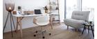 Design-Bürosessel ARAMIS, weißes PU/helles Holz