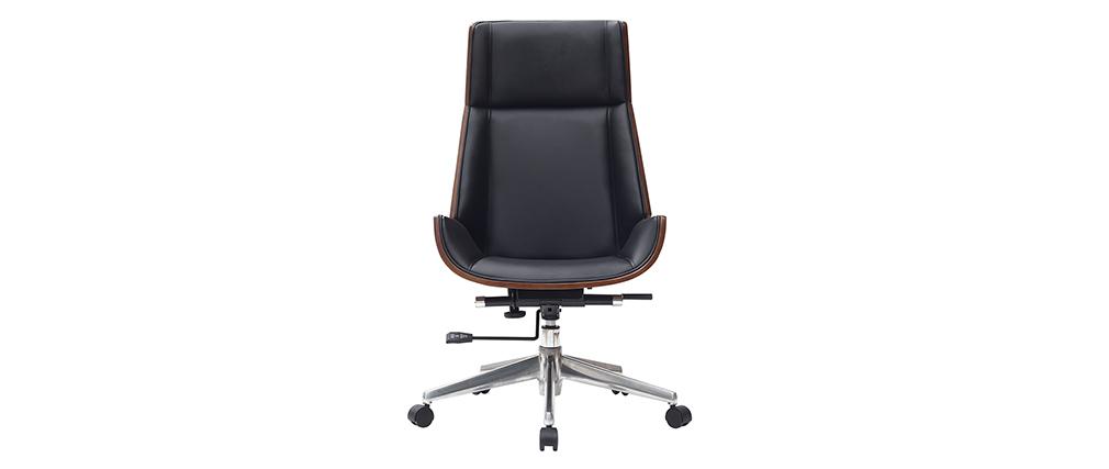 Design-Bürosessel dunkles Holz und Schwarz CURVED
