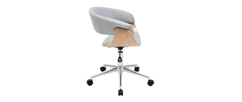 Design-Bürosessel grauer Stoff und helles Holz OKTAV