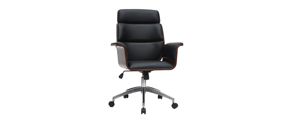 Design-Bürosessel schwarz und dunkles Holz ELON