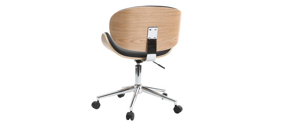 Bürostuhl design holz  Design-Bürostuhl PU Schwarz und helles Holz WALNUT - Miliboo