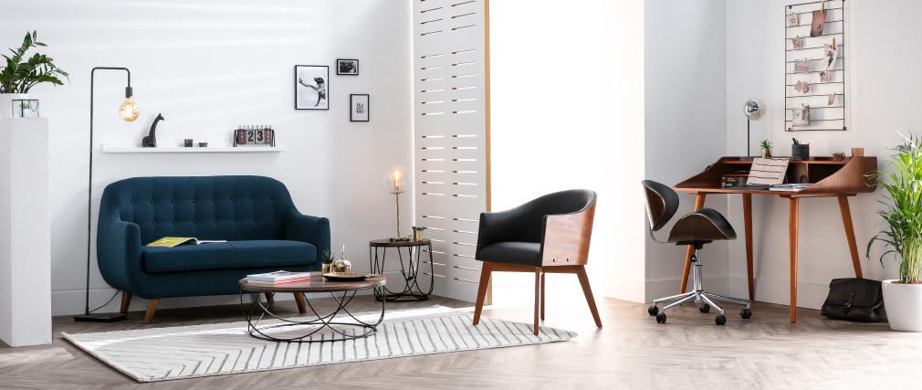 Design-Bürostuhl PU Schwarz und helles Holz WALNUT