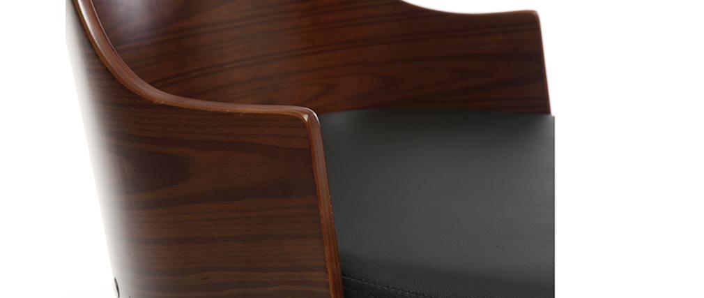 Design-Bürostuhl PU Schwarz und Nussbaum MAYOL