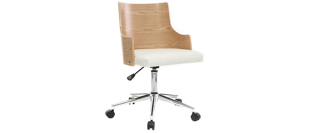 Bürostuhl design holz  Design-Bürostuhl PU Weiß und helles Holz MAYOL - Miliboo