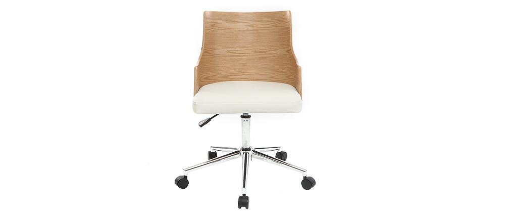 Bürostuhl weiß holz  Design-Bürostuhl PU Weiß und helles Holz MAYOL - Miliboo