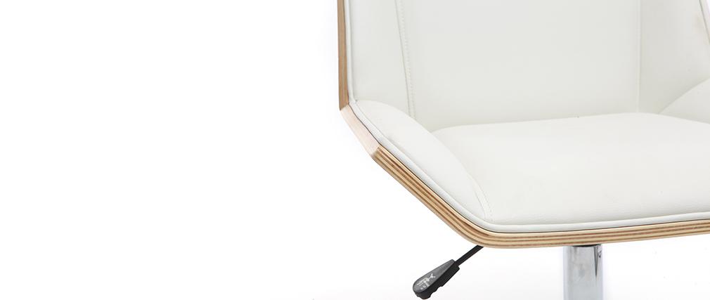 Design-Bürostuhl PU Weiß und Helles Holz MELKIOR