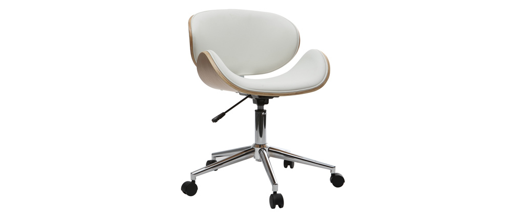 Design-Bürostuhl PU Weiß und helles Holz WALNUT