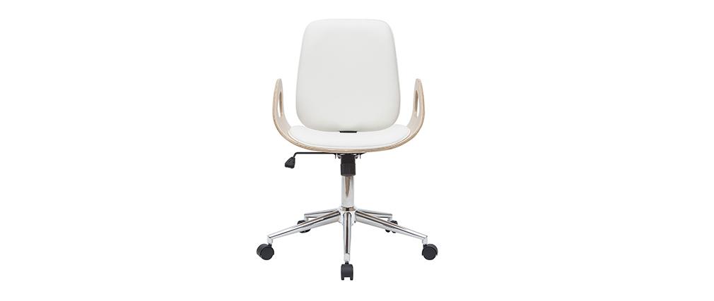 Design-Bürostuhl weiß und helles Holz GLORY