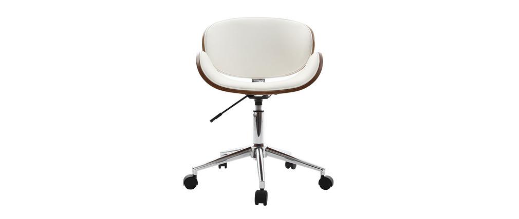 Bürostuhl weiß  Design-Bürostuhl Weiß und Holz WALNUT - Miliboo