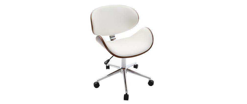 Bürostuhl design holz  Design-Bürostuhl Weiß und Holz WALNUT - Miliboo