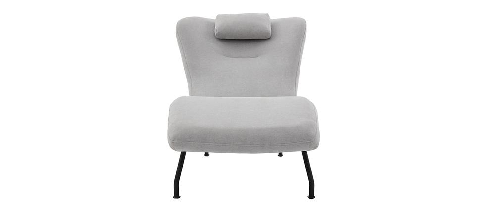 Design-Chaiselongue in hellgrauem Velours FLOW