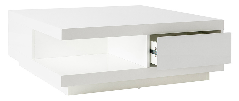 Design-Couchtisch 2 Schubladen Weiß KARY