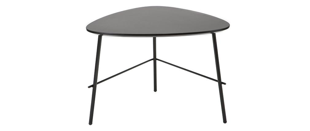 Design-Couchtisch BLOOM aus schwarzem Metall L60 cm