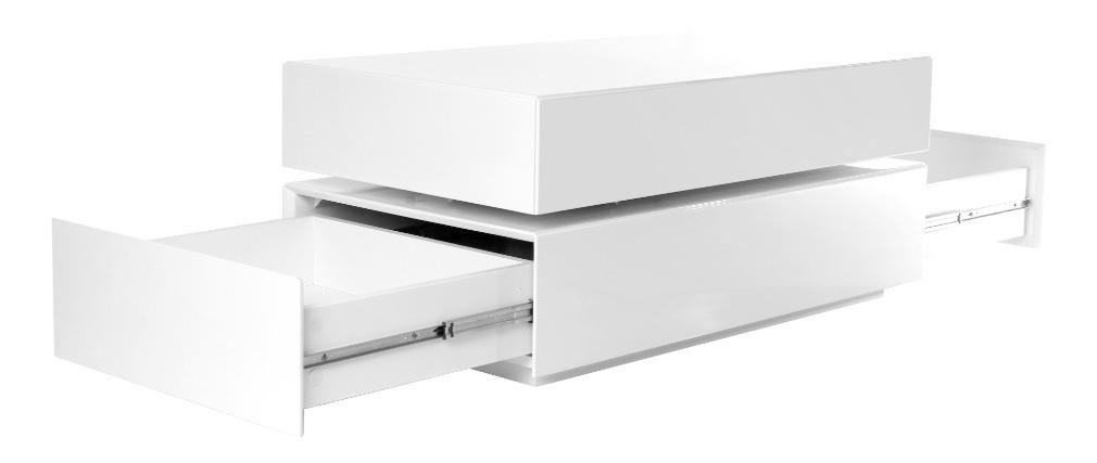 Design-Couchtisch drehbar 4 Schubladen Weiß ELEA