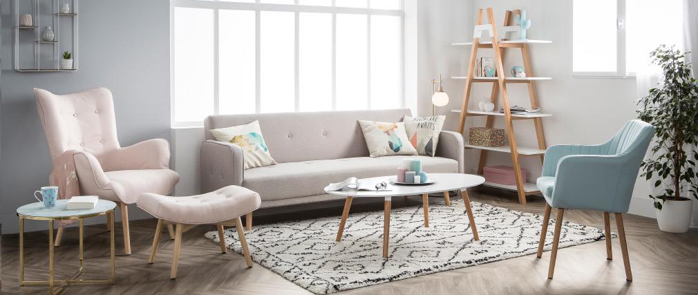 Design-Couchtisch GILDA Holz Natur und Weiß