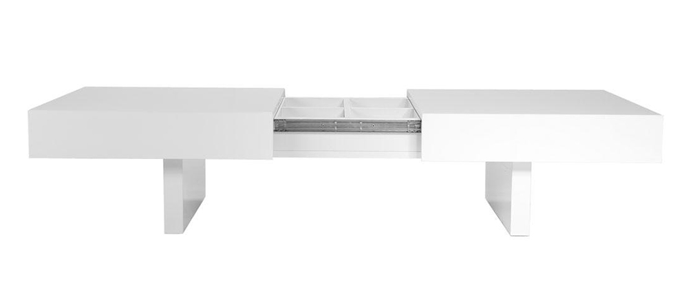 Design-Couchtisch GISSY Weiß, öffnende Platten