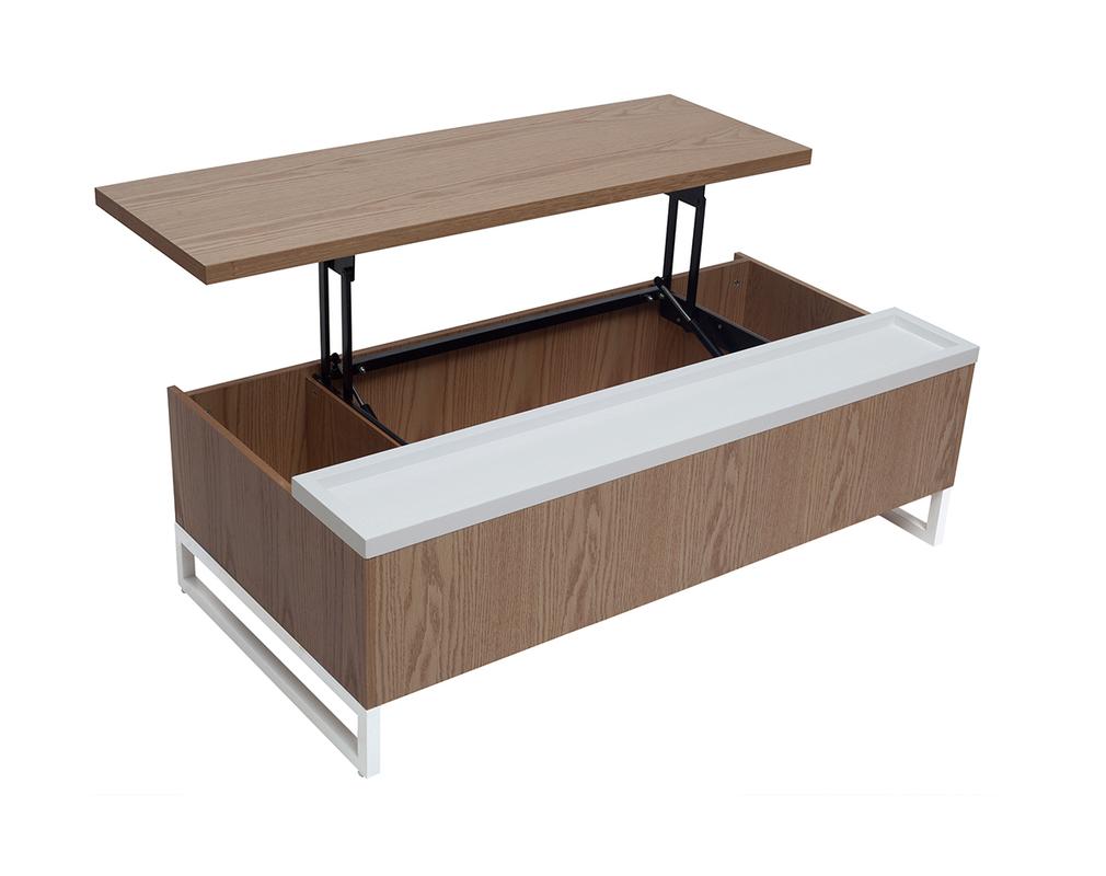 Design Couchtisch Höhenverstellbar Holz Und Weiß Mit