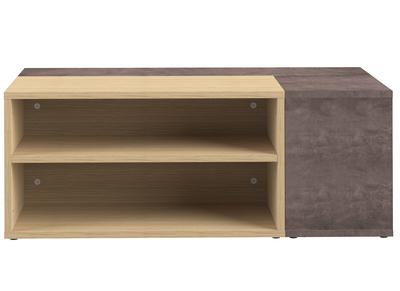 Design-Couchtisch in Holz und Betongrau QUADRA
