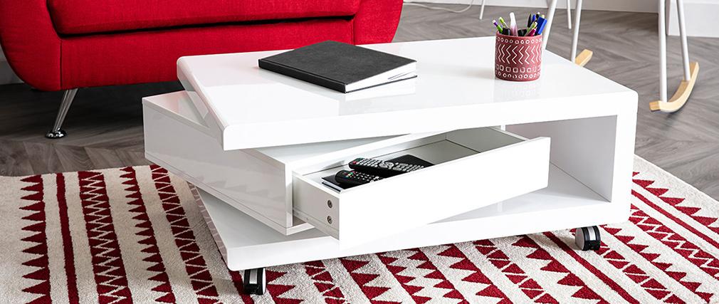 Design-Couchtisch lackiert Weiß LIVO