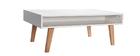 Design-Couchtisch lackiert Weiß matt und Holz ADORNA