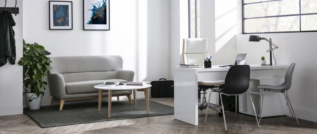 Design-Couchtisch lackiert Weiß und Holz LARGO