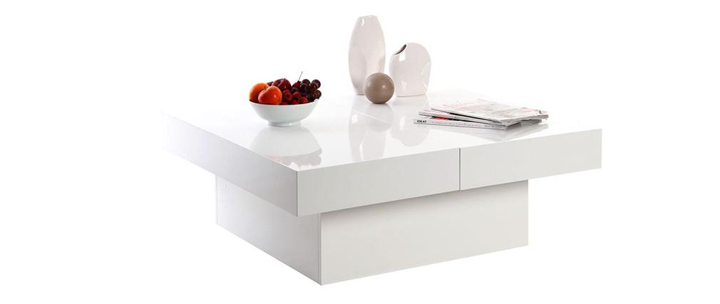 Design-Couchtisch LAUREEN mit öffnender Tischplatte Weiß