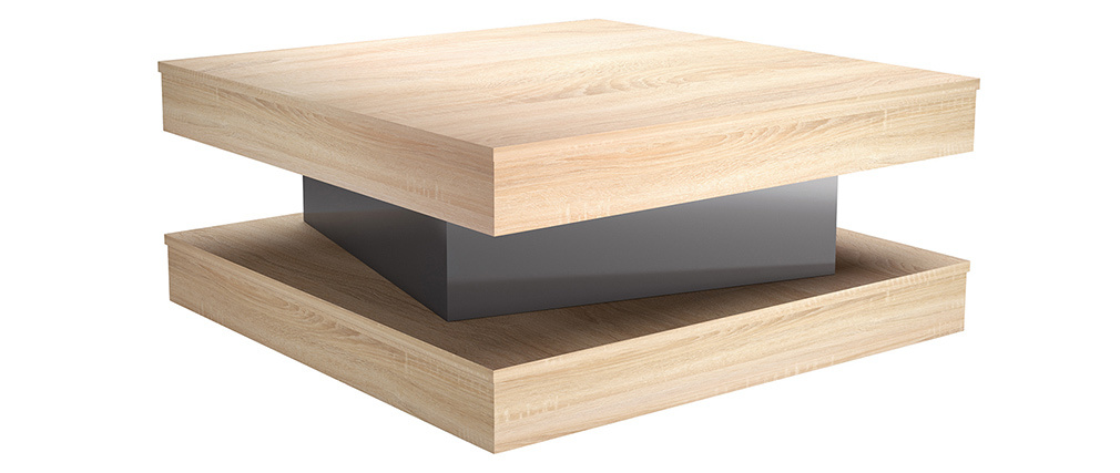 Design-Couchtisch mit Schublade in Eiche Finish und lackiert in Grau Glanz LEGO