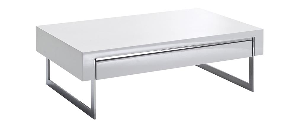 Design-Couchtisch mit Schublade weiß lackiert und verchromtes Metall COOPER