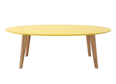 Design-Couchtisch Oval 120 cm Gelb EKKA