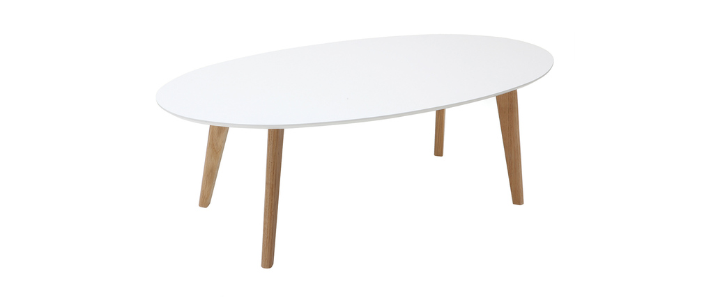 Design-Couchtisch Oval Weiß L120 cm EKKA