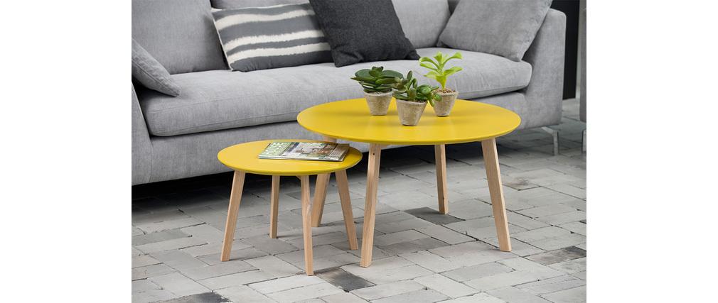 design couchtisch rund 80 cm currygelb sara miliboo. Black Bedroom Furniture Sets. Home Design Ideas
