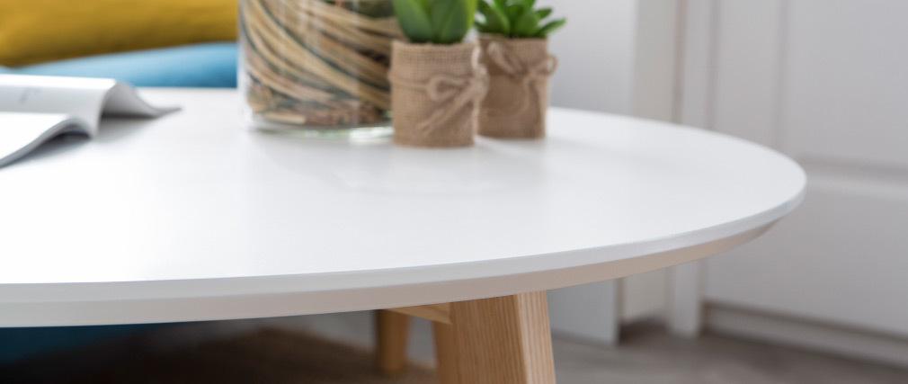 Design-Couchtisch rund 80 cm matt Weiß SARA