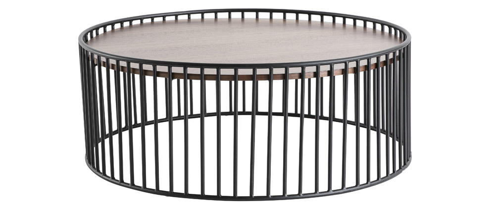 Design-Couchtisch rund dunkles Holz und Metall HARP
