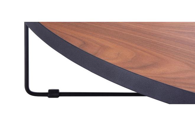 design couchtisch rund nussbaum und metall schwarz 100 cm. Black Bedroom Furniture Sets. Home Design Ideas