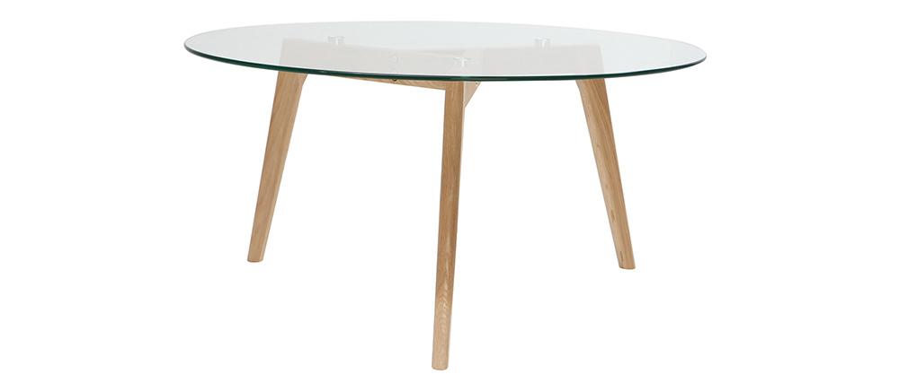 DesignCouchtisch rund zeitgenössisch Glas und Holz DAVO -> Couchtisch Glas Und Holz