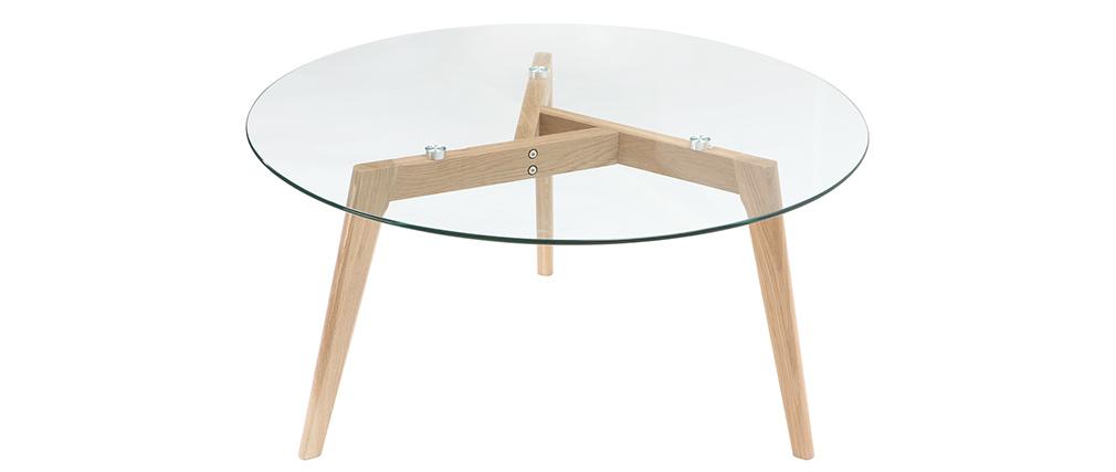 design couchtisch rund zeitgen ssisch glas und holz davos miliboo. Black Bedroom Furniture Sets. Home Design Ideas