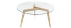 Design-Couchtisch rund zeitgenössisch Glas und Holz DAVOS