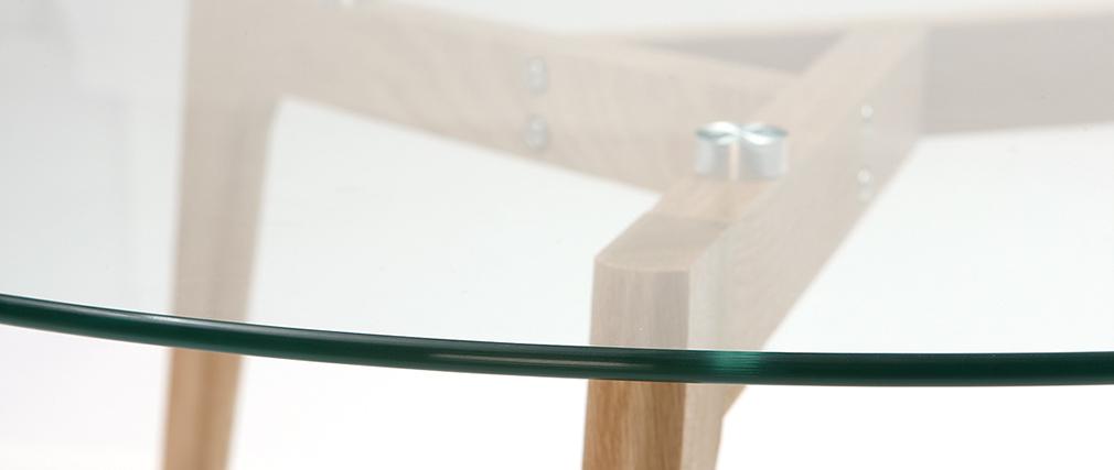 Couchtisch glas holz rund  Design-Couchtisch rund zeitgenössisch Glas und Holz DAVOS - Miliboo