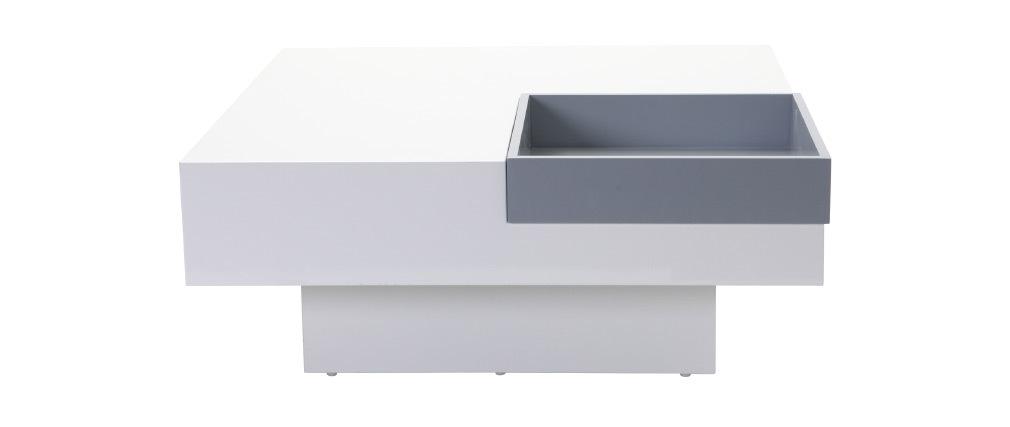 Design-Couchtisch TEENA Weiß mit abnehmbaren Tablett Grau