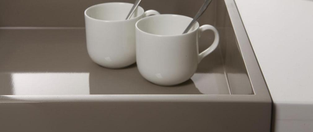 Design-Couchtisch TEENA Weiß mit abnehmbaren Tablett Taupe