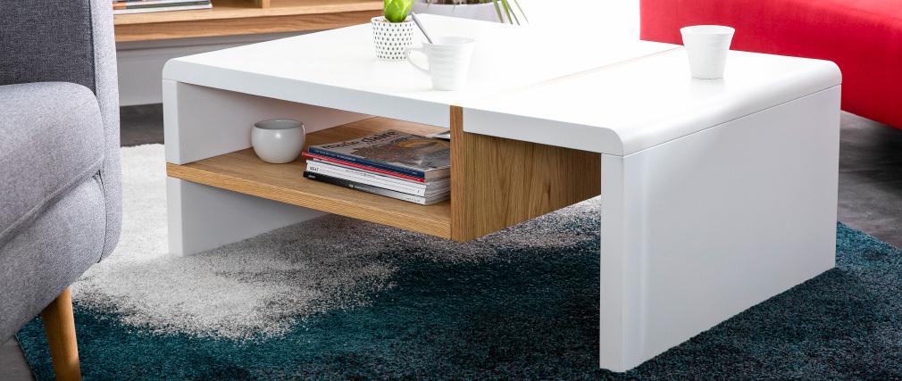 Design-Couchtisch weiß lackiert und Eichenfurnier INSERT