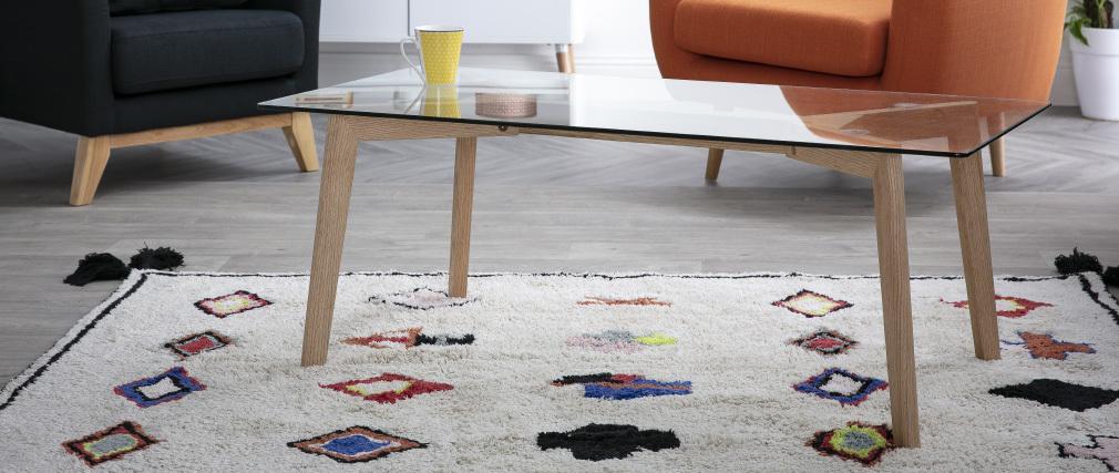 Design-Couchtisch zeitgenössisch Glas und Eiche DAVOS