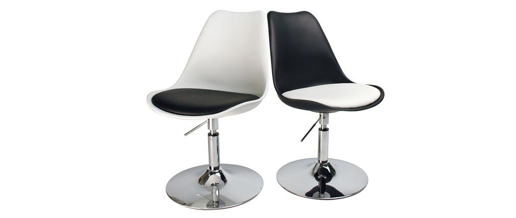 Design-Drehstuhl STEEVY Schwarz und Weiß