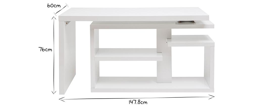 Design-Drehtisch in weißem Hochglanz-Lack L147-217 cm HALTON