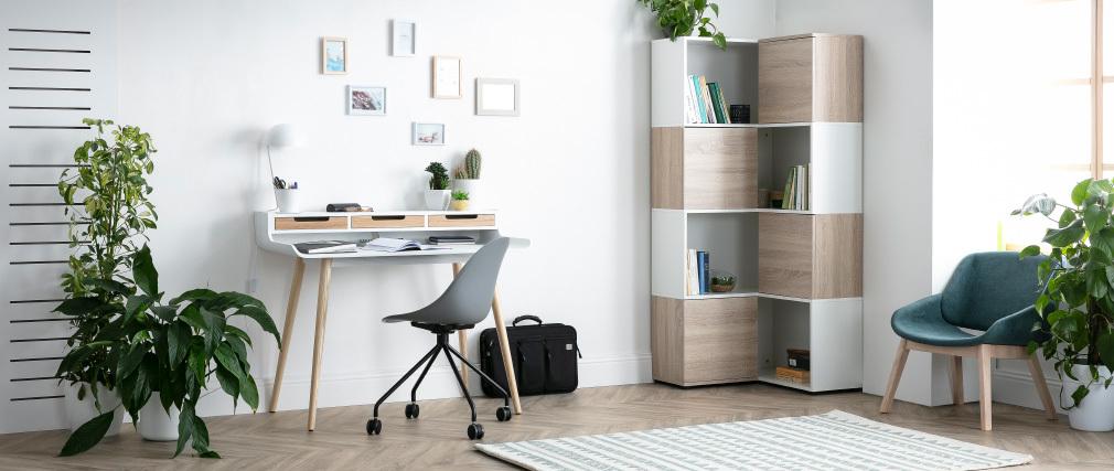 Design-Eck-Bücherregal QUADRA Holz und Weiß mit 8 Fächern