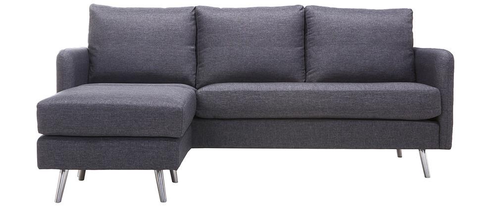 Design-Eckesofa verstellbar 3 Plätze Dunkelgrau BART